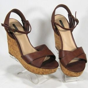 Forever 21 Brown Cork Wedge Heels Size: 9M